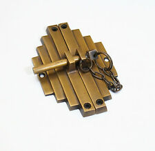 Vintage Retro Asian Bamboo Latch Solid Brass Door Box Safe Latch Lock