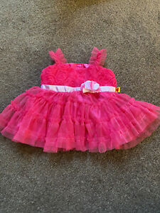Build A Bear BAB Hot Pink Sparkles Frilled Dress