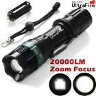 Tactical Flashlight T6 LED 18650 Camping Torch 20000 LM Zoomable Adjust Focus