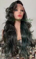 Ash Green Wig Mix Ombré Lace Front Wavy Layered Heat Ok Dark Root 26 Inch Long