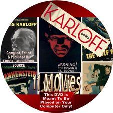 11 BORIS KARLOFF VINTAGE MOVIES ON DVD - HORROR - FRANKSTEIN - BLACK CAT ...