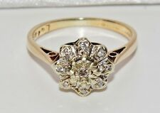 Vintage 9ct Yellow Gold Diamond Cluster Ring - size i