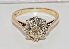 VINTAGE 9ct Oro Giallo Anello Di Diamanti Cluster-Taglia I