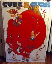 Original Polish Circus CYRK Elephant Cycle Poster Waldemar Świerzy Art Ca. 1972