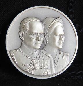 2010 King Rama 9 IX & Queen Sirikit 60th Wedding Silver Thailand Medal Thai
