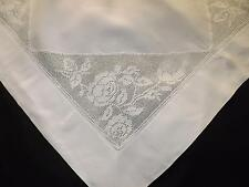 88 x 90 cms Vintage White Irish Linen Tablecloth Topper Filet Lace Roses Flowers