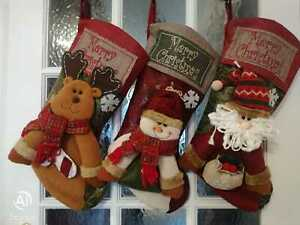 Large Xmas Stocking Sock Sack Bag Hanging Handmade for Presents & Gifts Set of 3