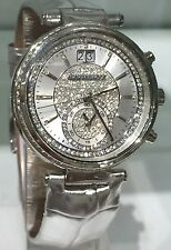 NEW MICHAEL KORS Silver Glitz Sawyer Silver Leather Swiss 39mm Watch MK2443 $325