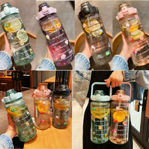 2L Water Cup Plas,Fitness Jugs Motivational With Time Marker With Straw Gradient