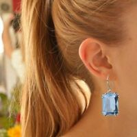Blue Crystal Women Vintage Romantic For Dangles Aquamarine Jewelry Earrings