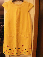 NWT Girls Gymboree Size 10 yellow cap sleeve dress with button detail