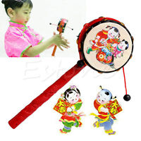 Chinese Traditional Spin Toy Rattle Drum Kids Cartoon Hand Bell Plastic For Baby