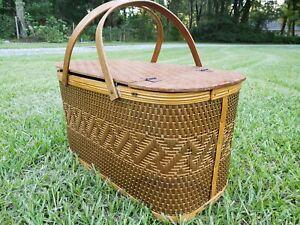 Vintage Burlington Basket Co Hawkeye Woven Picnic Basket, RARE WOVEN TOP Design