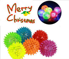 Kid Elastic Spike LED Flash Light Massage Ball Game Squeaker Xmas Party Gift Toy