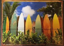 Surf Boards On Garden Wall Art TIN SIGN  Art Poster Metal Bar Wall Decor 30x40cm