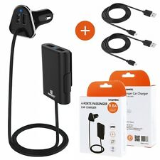 Kit TAXI VTC UBER Caricatore Da Auto Accendisigari 9.6A 4 Porte USB+2 Cavi Micro
