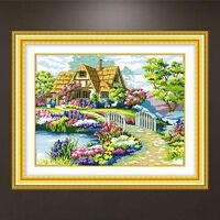 Flower Embroidery Starter Cross Stitch Kit Set Threads DIY Craft Home Decoration