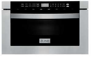 """ZLINE 24"""" 1.2 cu. ft. Microwave Drawer in Stainless Steel & Black Stainless (LN)"""