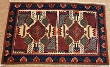 Persian Afshar Tribal Hand Knotted Wool Ivory Red Navy Oriental Rug 2 x 3