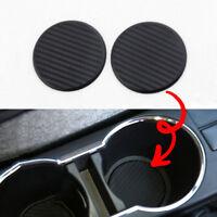 2*Black Car Vehicle Water Cup Slot Non-Slip Carbon Fiber Look Mat Accessories BA