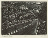 Original Art Beyond Bridge Wood Engraving Print Road Southwest Landscape
