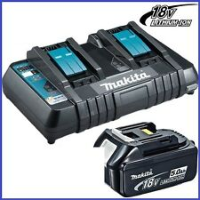 Makita 18v Same Time Dual Port Fast Charger DC18RD & Li-Ion 5Ah Battery
