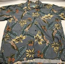 Men's reyn spooner Light Blue Rayon Hawaiian Shirt Floral Button Front Large