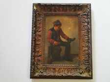 ANTIQUE PAINTING BY JOHN HENRICI 19TH CENTURY PORTRAIT SHOE SHINE BOY AS IS ART