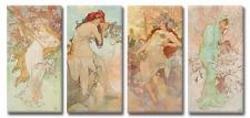 TIME4BILD Alfons Mucha Vier Jahreszeiten Jugendstils 4BILDER LEINWAND GICLEE ART
