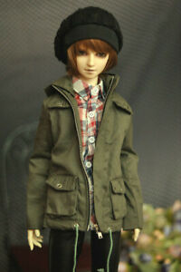 1/4 1/3 UncleSD17 BJD Hoodies Doll Clothes Army Green Jacket Coat Removable Hat