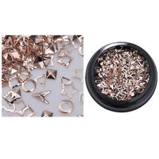 3D Nail Art Decoration Metal Nails Studs Rose Gold Seashell Feather Manicure #5