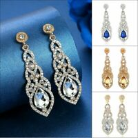 Bridal Silver Crystal Rhinestone Long Dangle Drop Earrings Women Jewelry Gift UK