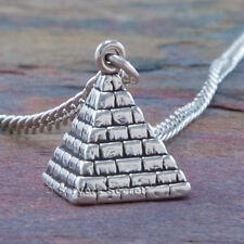 """925 sterling silver PYRAMID Charm EGYPTIAN EGYPT Pendant 24"""" Necklace"""