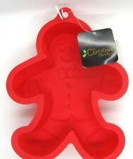 """Silicone Red Gingerbread Form Mold Baking Pan NEW Christmas Holiday 10"""" Size"""