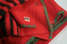 Pair Vintage CC41 Red / Black Striped Blankets 1940s / 1950s Stripes Green Trim