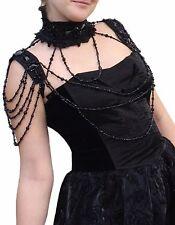 Women's Bolero Jewelry Umhang mit Beads of RQ-BL black BURLESQUE VICTORIAN