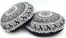 2 PC LOT Indian Round Mandala Floor Throw Pillows Cushion Cover Poufs Ottoman