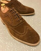 Men's Loake England Brown Suede Wing Tips Brogues Shoes UK 9 EU 43 US 10