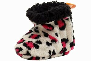 Skidders Infant Girl's Spicy Leopard White Plush Booties Shoes Sz. 6-12 Months
