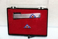 Vintage Sterling Bar and Pin Blue Outline Triangle Red Square Art Deco