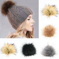 Faux Fur Pom Pom Furry Large Raccoon Balls Press Button Knitting Hat Craft DIY