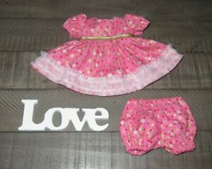 """Handmade Doll Clothes for 12"""" - 14"""" Baby Dolls - """"Dizzy Dots"""" Pink Red Dress Set"""