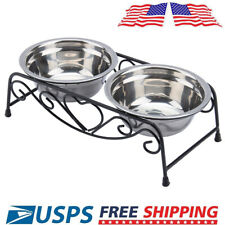 New listing Set Of 2Pcs Stainless Steel Pet Feeder Bowls + Stand Dog Cat Food Water Dish Us