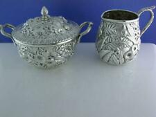 Early Coin Silver S KIRK & SON Creamer & covered Sugar Bowl REPOUSSE 11oz mark