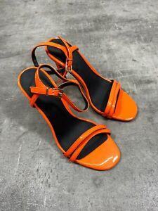 ASOS Bright Orange Heeled Strappy Sandal Shoes - UK 2