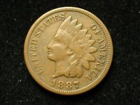 BLOW OUT SALE!!  VERY FINE 1887 INDIAN HEAD CENT PENNY w/ PARTIAL LIBERTY  #62!