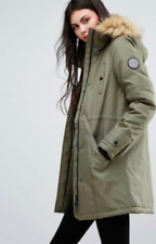 VERO MODA LADIES TALL FAUX FUR HOODED PARKA COAT SIZE XS COLOUR IN  IVY GREEN