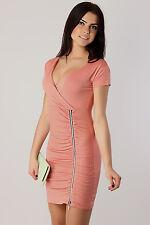 sexy V-Ausschnitt Damen Kleid mit Reißverschluss Stretch Falte Tunika Größe 8-12