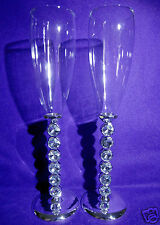 Wedding/Bridal Toasting Champagne Flutes with Diamante Stems.