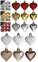 9 Pack 4cm (40mm) Christmas Tree Ornaments Heart Hanging Decoration Xmas Decor
